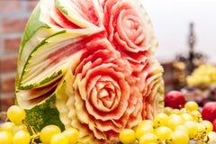 Bloemen het ornamentgravure van de watermeloen royalty-vrije stock fotografie