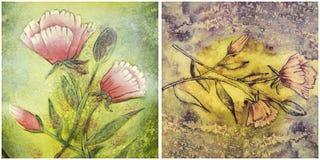 Bloemen het schilderen pastelkleuren als achtergrond Stock Fotografie