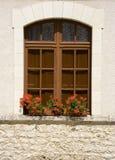 Bloemen in het venster stock fotografie