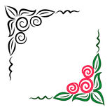 Bloemen hoekornament. JPG en EPS stock illustratie