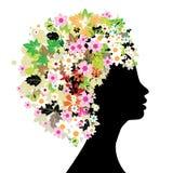 Bloemen hoofdsilhouet royalty-vrije illustratie
