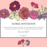 Bloemen horizontale uitnodigingskaart Vector Stock Fotografie