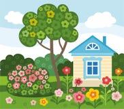 Bloemen, huis, de gekleurde zomer, vlakte, illustratie Stock Foto's