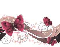 Bloemen illustratie met vlinders stock illustratie