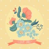 Bloemen kaart Stock Foto