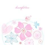 Bloemen kaart met dwergpapegaai Stock Afbeeldingen