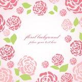 Bloemen kaart met roze rozen Royalty-vrije Stock Afbeelding