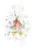 Bloemen kalligrafieornament Stock Afbeelding
