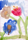 Bloemen in kind het schilderen Stock Fotografie