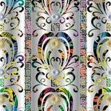 Bloemen kleurrijk 3d naadloos patroon Vectordamast zilveren backgr royalty-vrije illustratie