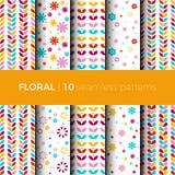 Bloemen kleurrijke patronen Stock Afbeelding