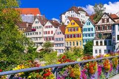 Bloemen kleurrijke stad Tübingen in Duitsland & x28; Baden-Wurttemberg& x29; Royalty-vrije Stock Foto's
