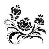 bloemen-kruid-zwart-patroon-nieuw Stock Afbeelding