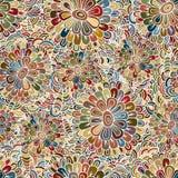 Bloemen levendig abstract golfornament, hand getrokken vectordieillustratie van eenvoudige krabbels wordt gemaakt Het patroon van Stock Fotografie