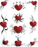 Bloemen liefdepictogrammen Stock Foto's