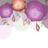 Bloemen malplaatje voor kaart Stock Foto's