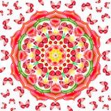 Bloemen mandala met rode vlinders Royalty-vrije Stock Afbeeldingen