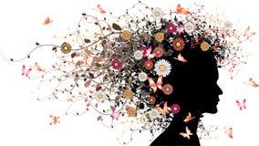 Bloemen meisjessilhouet Stock Fotografie