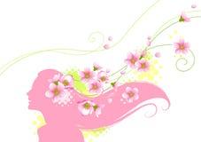 Bloemen meisjessilhouet Stock Foto's
