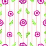 Bloemen met bladeren op een roze gestreepte naadloze vector als achtergrond royalty-vrije illustratie