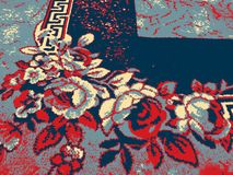 Bloemen met blauw en rood effect vector illustratie