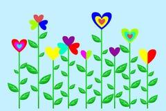 Bloemen met harten Royalty-vrije Stock Foto
