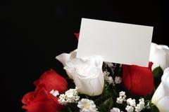Bloemen met kaart Royalty-vrije Stock Afbeeldingen