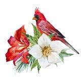 Bloemen met vogel royalty-vrije illustratie