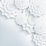 Bloemen modieuze grijze achtergrond met 3d bloemen Stock Foto
