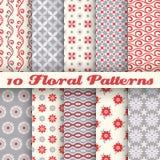 10 bloemen modieuze vector naadloze patronen (het betegelen) royalty-vrije illustratie