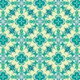 Bloemen mooi groen en geel symmetrisch het herhalen patroon stock illustratie