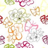 Bloemen naadloos behang Stock Afbeeldingen