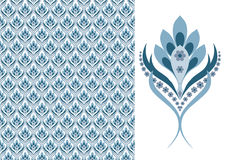 Bloemen naadloos behang-blauw stock illustratie