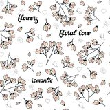 Bloemen naadloos die patroon van roze gestileerde bloemen en het van letters voorzien wordt gemaakt Eindeloze textuur voor romant stock illustratie