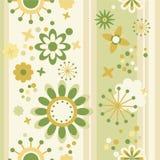 Bloemen naadloos gestreept behang Royalty-vrije Stock Foto