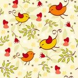 Bloemen naadloos met vogels. Stock Afbeelding