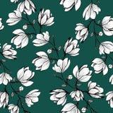 Bloemen naadloos patroon Bloeiende magnolia op een groene achtergrond Druk voor stof en andere oppervlakten De illustratie van de vector illustratie