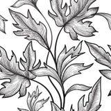 Bloemen naadloos patroon Bloem en bladerenachtergrond Bloemense Stock Afbeeldingen
