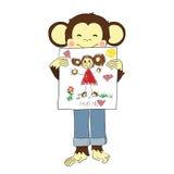 Bloemen (naadloos) Patroon De aap houdt tekening van zijn moeder Royalty-vrije Stock Afbeelding