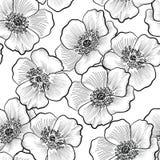Bloemen naadloos patroon De achtergrond van de bloem Bloei schets blac Stock Afbeelding