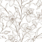 Bloemen naadloos patroon De achtergrond van de bloem Bloementegelornament Royalty-vrije Stock Fotografie