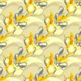 Bloemen naadloos patroon De achtergrond van de geel lisbloem Stock Foto's