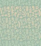 Bloemen naadloos patroon De lente eindeloze achtergrond met bloem, tak, hart, blad enz. in zachte kleuren royalty-vrije illustratie