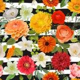 Bloemen naadloos patroon De zomer en Autumn Flowers Background vector illustratie