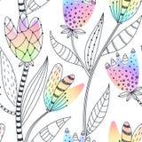 Bloemen naadloos patroon Hand getrokken abstracte gradiëntbloemen met krabbeldecoratie Kleurrijk artistiek ontwerp stock illustratie