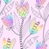 Bloemen naadloos patroon Hand getrokken abstracte gradiëntbloemen met krabbeldecoratie Kleurrijk artistiek ontwerp vector illustratie