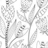 Bloemen naadloos patroon Hand getrokken creatieve abstracte bloemen met krabbeldecoratie Artistiek ontwerp vector illustratie