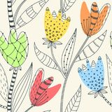 Bloemen naadloos patroon Hand getrokken creatieve abstracte bloemen met krabbeldecoratie Kleurrijk artistiek ontwerp royalty-vrije illustratie