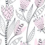 Bloemen naadloos patroon Hand getrokken creatieve abstracte bloemen met krabbeldecoratie Kleurrijk artistiek ontwerp stock illustratie