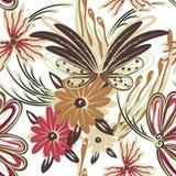 Bloemen naadloos patroon Hand getrokken creatieve bloem Kleurrijke artistieke achtergrond met bloesem Abstract kruid Royalty-vrije Stock Foto's